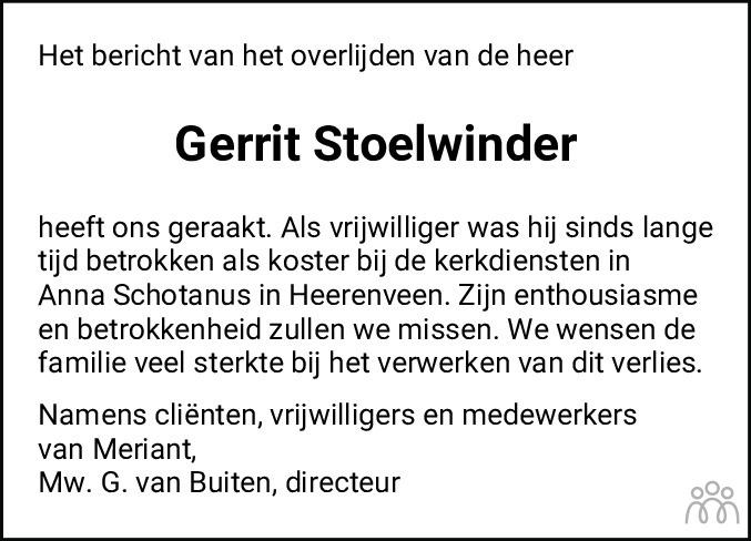 Overlijdensbericht van Gerrit Stoelwinder in Heerenveense Courant