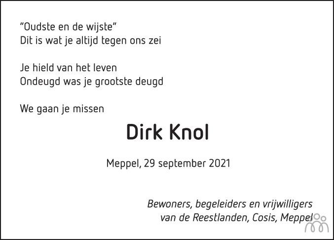 Overlijdensbericht van Dirk Knol in Meppeler Courant