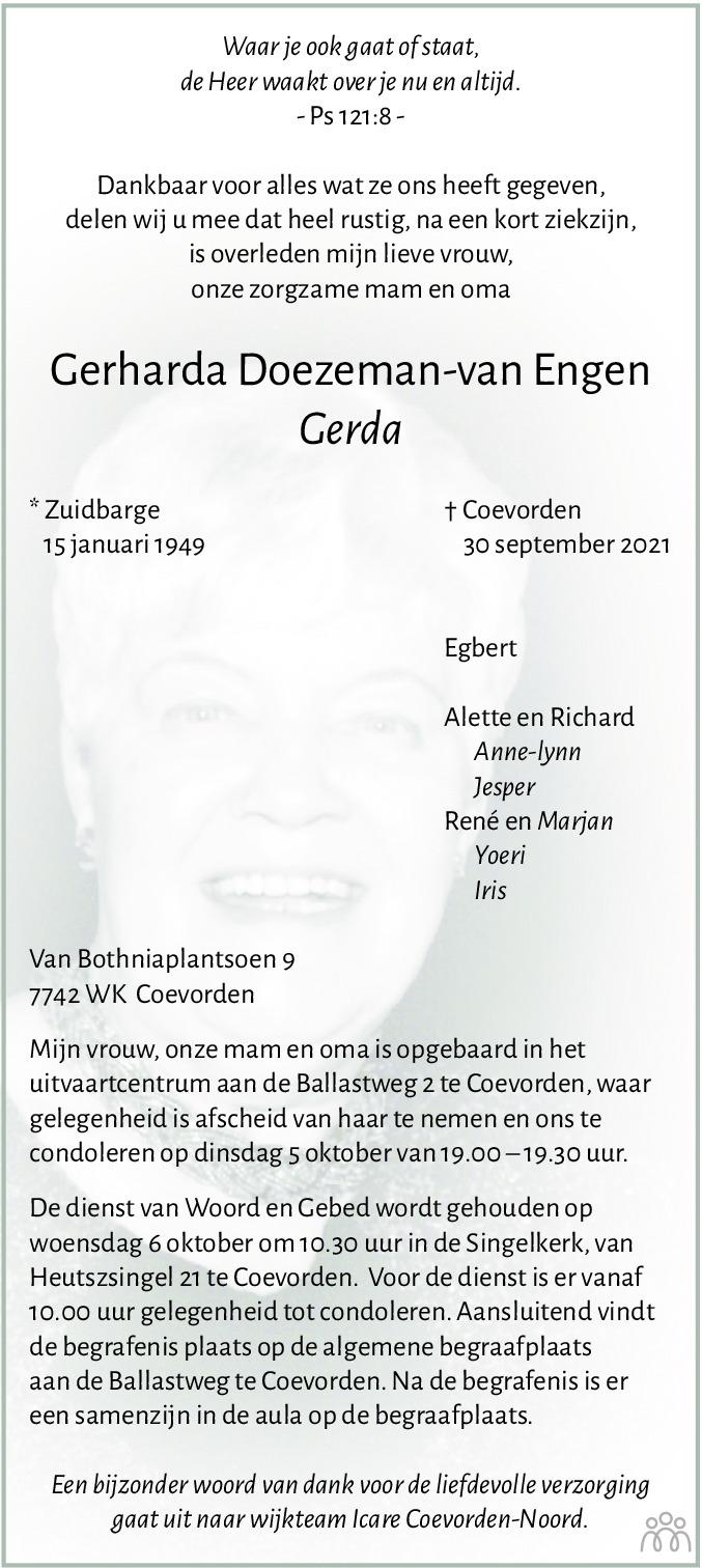 Overlijdensbericht van Gerharda (Gerda) Doezeman-van Engen in Dagblad van het Noorden