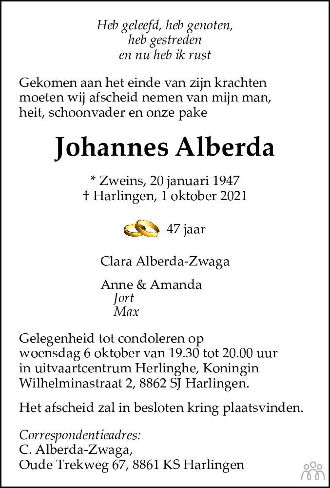 Overlijdensbericht van Johannes Alberda in Leeuwarder Courant