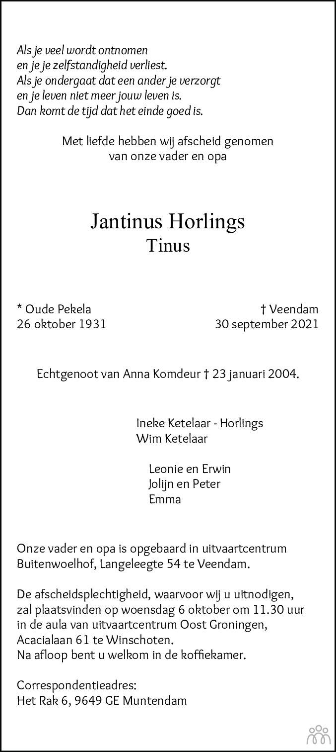 Overlijdensbericht van Jantinus (Tinus) Horlings in Dagblad van het Noorden