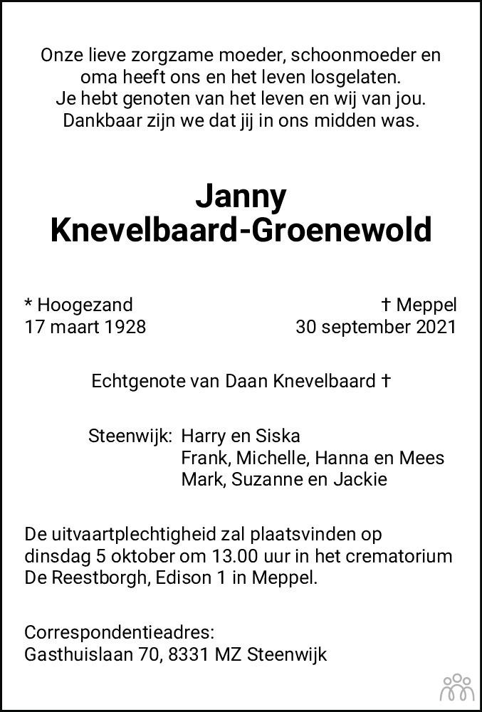 Overlijdensbericht van Janny Knevelbaard-Groenewold in Dagblad van het Noorden