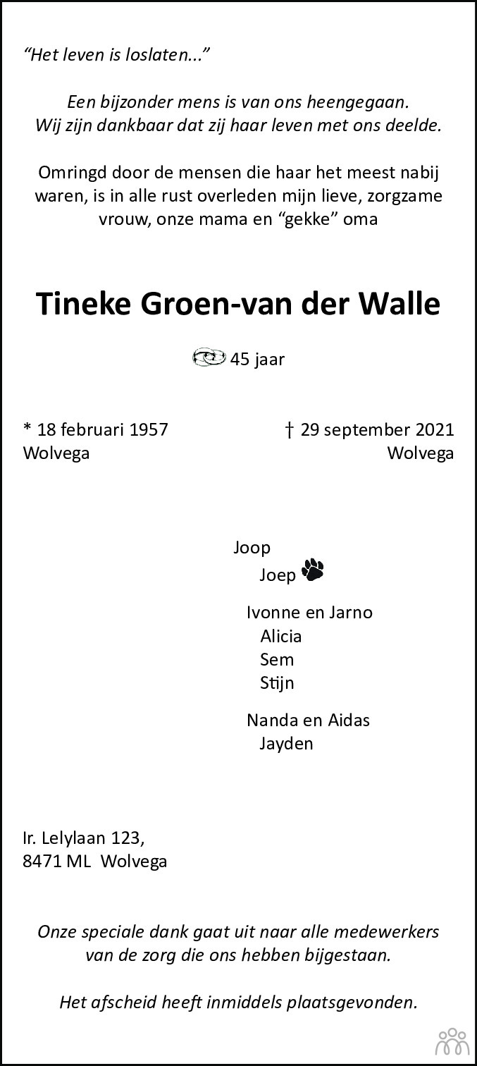 Overlijdensbericht van Tineke Groen-van der Walle in De Stellingwerf