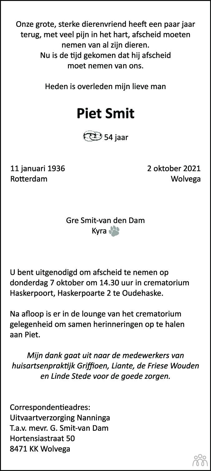 Overlijdensbericht van Piet Smit in De Stellingwerf