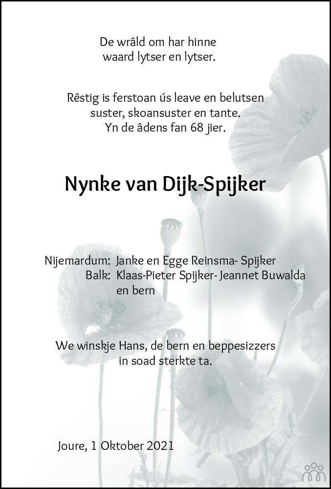 Overlijdensbericht van Nynke van Dijk-Spijker in Leeuwarder Courant