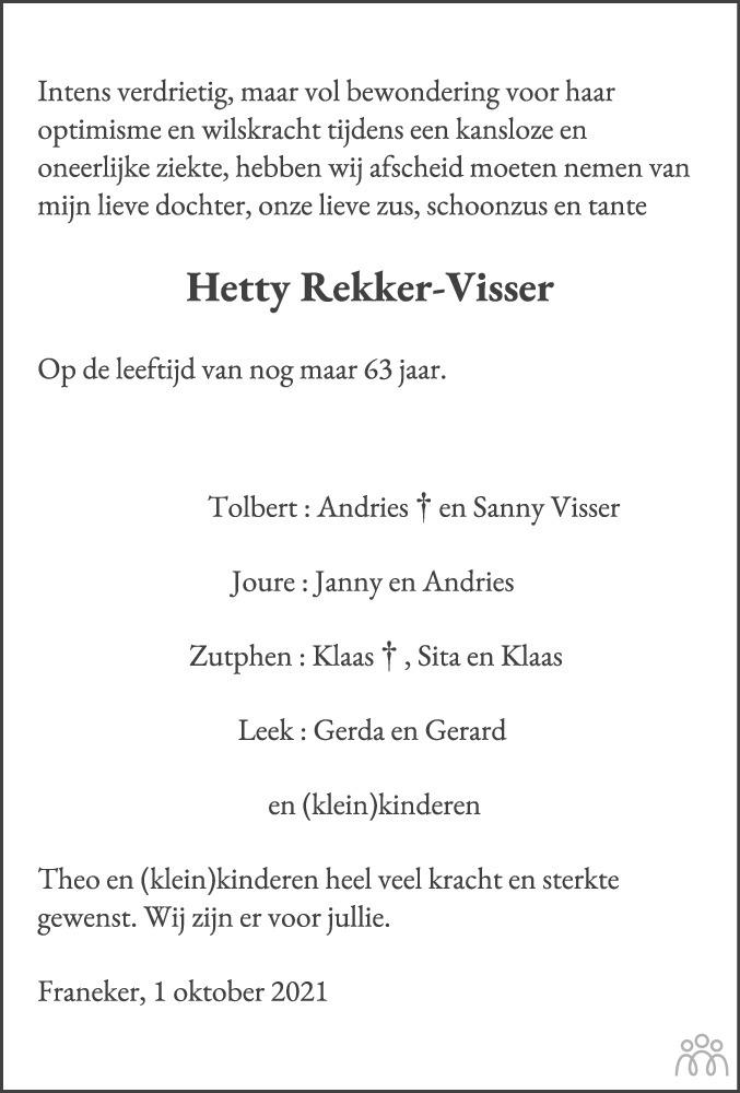 Overlijdensbericht van Hetty Rekker-Visser in Leeuwarder Courant