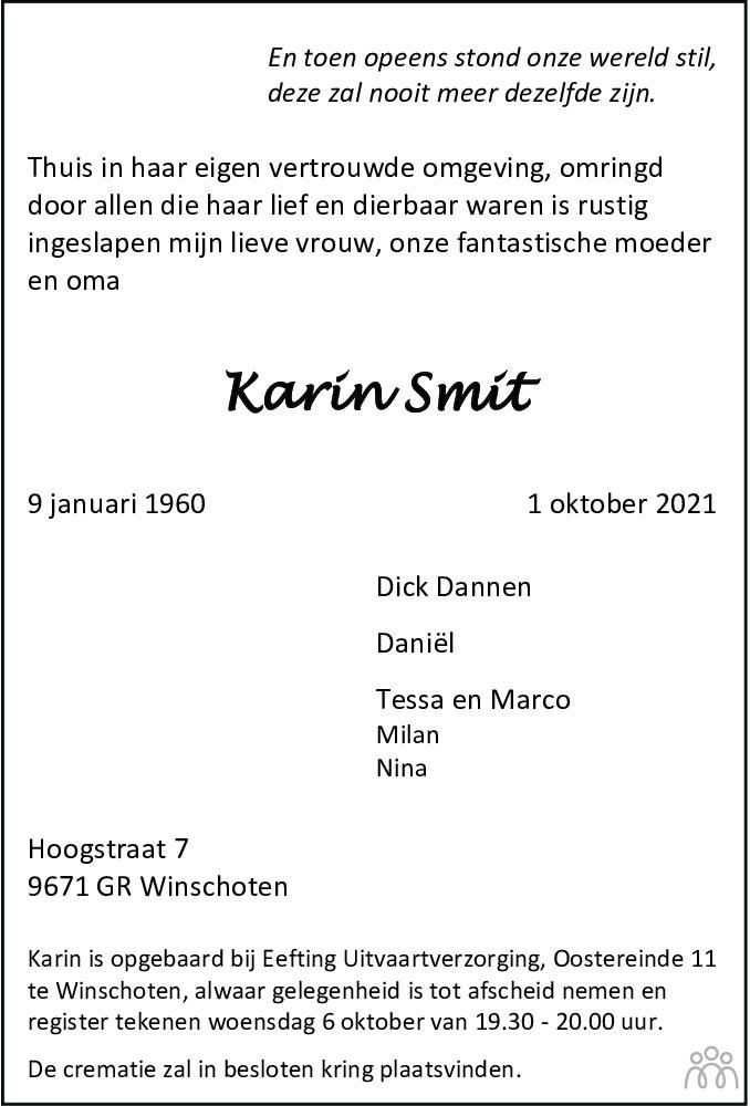Overlijdensbericht van Karin Smit in Dagblad van het Noorden