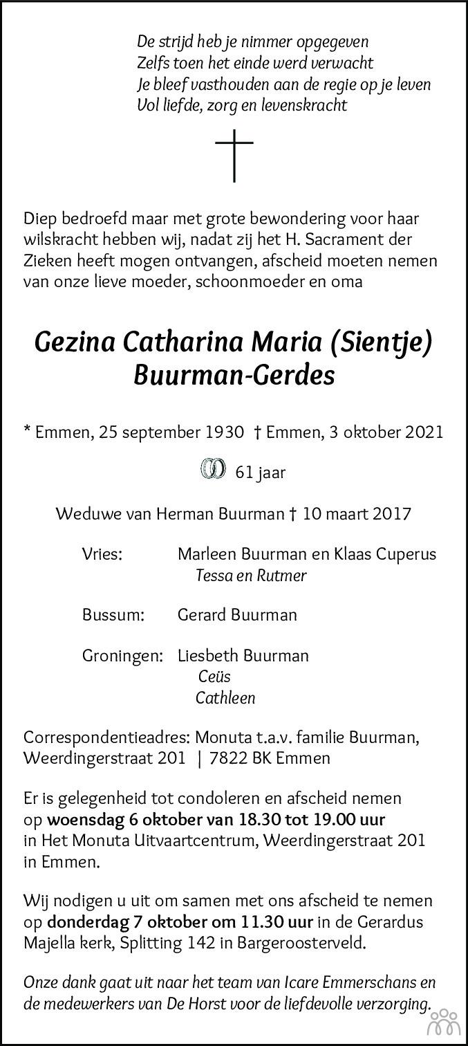 Overlijdensbericht van Gezina Catharina Maria (Sientje) Buurman-Gerdes in Dagblad van het Noorden