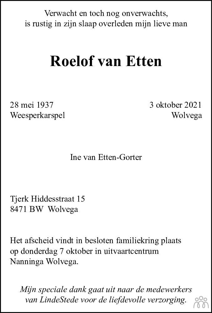 Overlijdensbericht van Roelof van Etten in Leeuwarder Courant