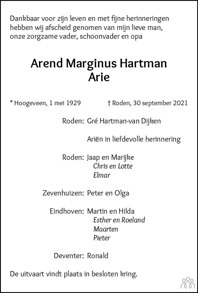 Overlijdensbericht van Arend Marginus (Arie) Hartman in Dagblad van het Noorden