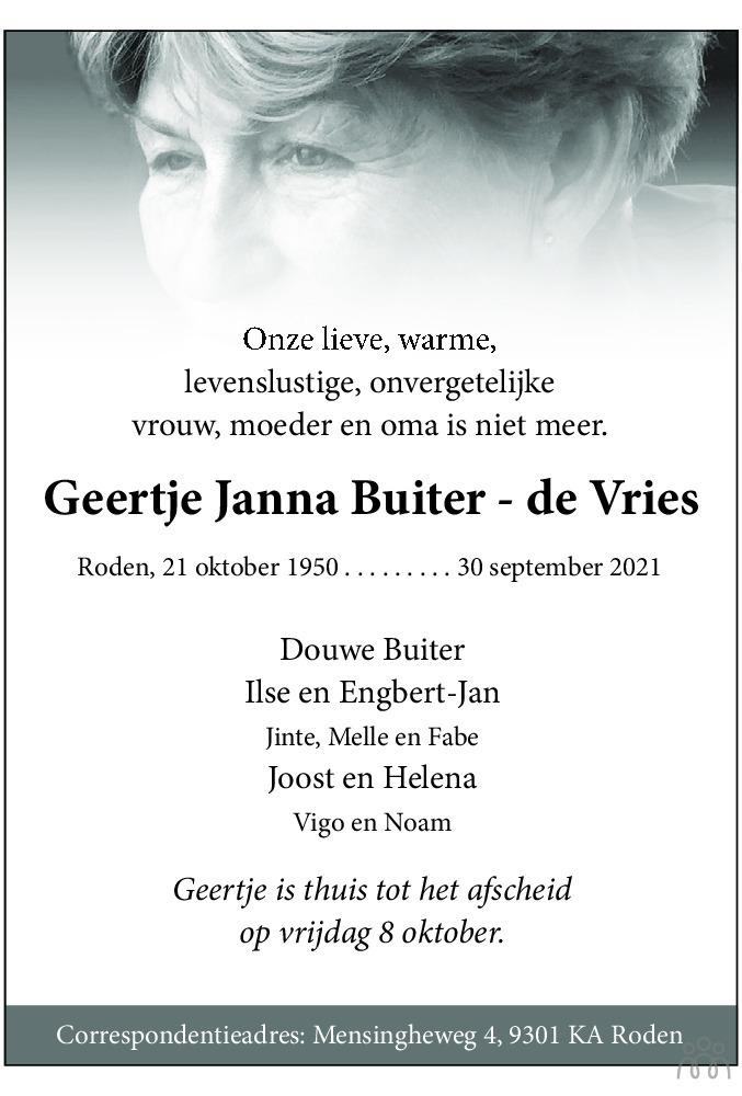 Overlijdensbericht van Geertje Janna Buiter-de Vries in Dagblad van het Noorden
