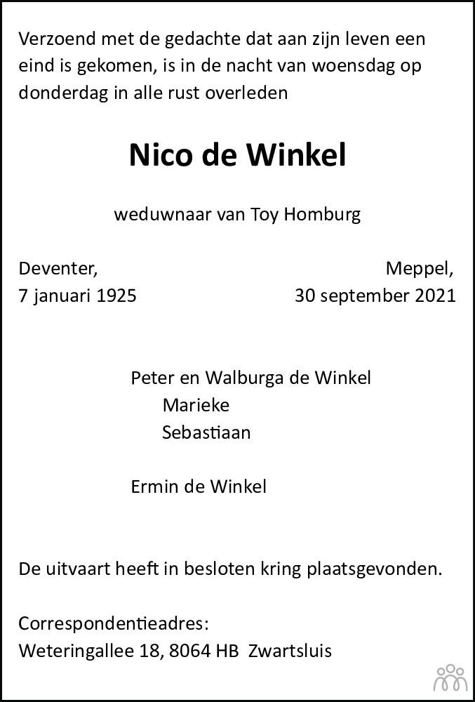 Overlijdensbericht van Nico de Winkel in Meppeler Courant
