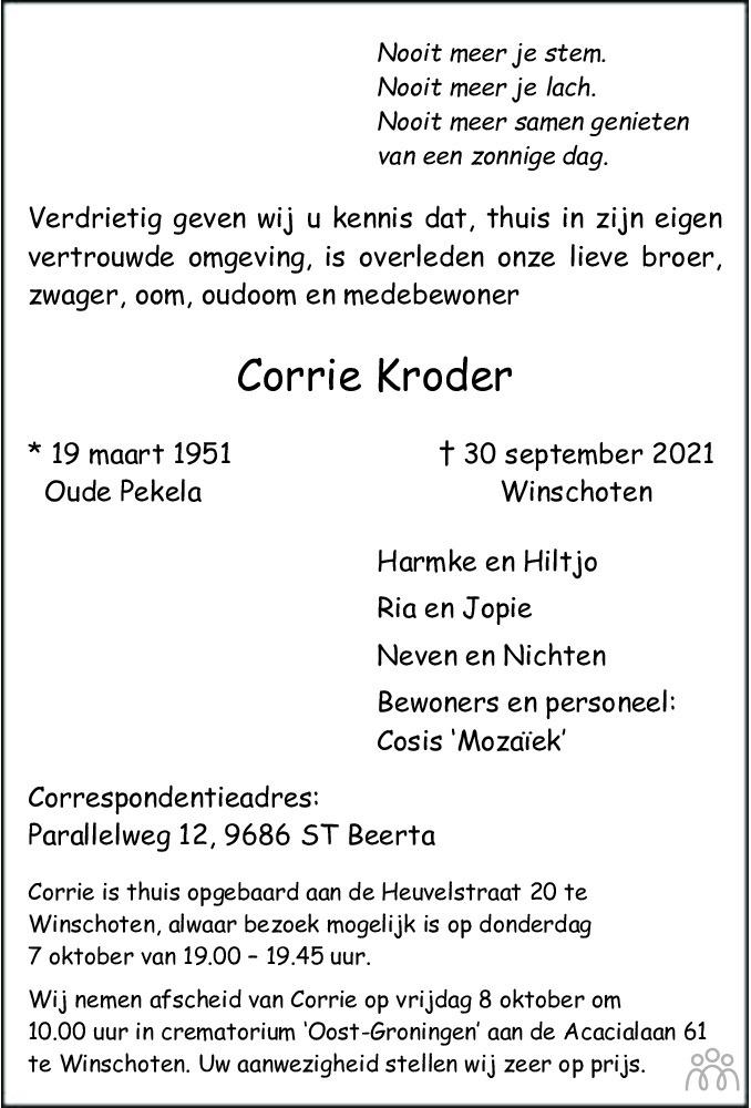 Overlijdensbericht van Corrie Kroder in Dagblad van het Noorden