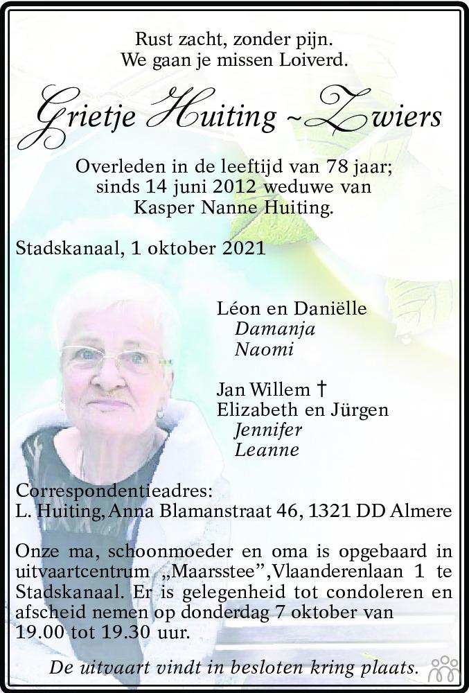 Overlijdensbericht van Grietje Huiting-Zwiers in Kanaalstreek Ter Apeler Courant