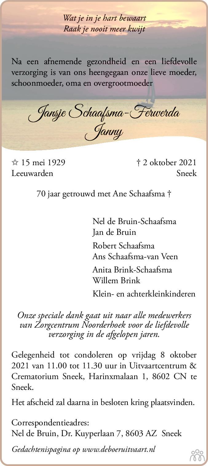 Overlijdensbericht van Jansje (Janny) Schaafsma-Ferwerda in Leeuwarder Courant