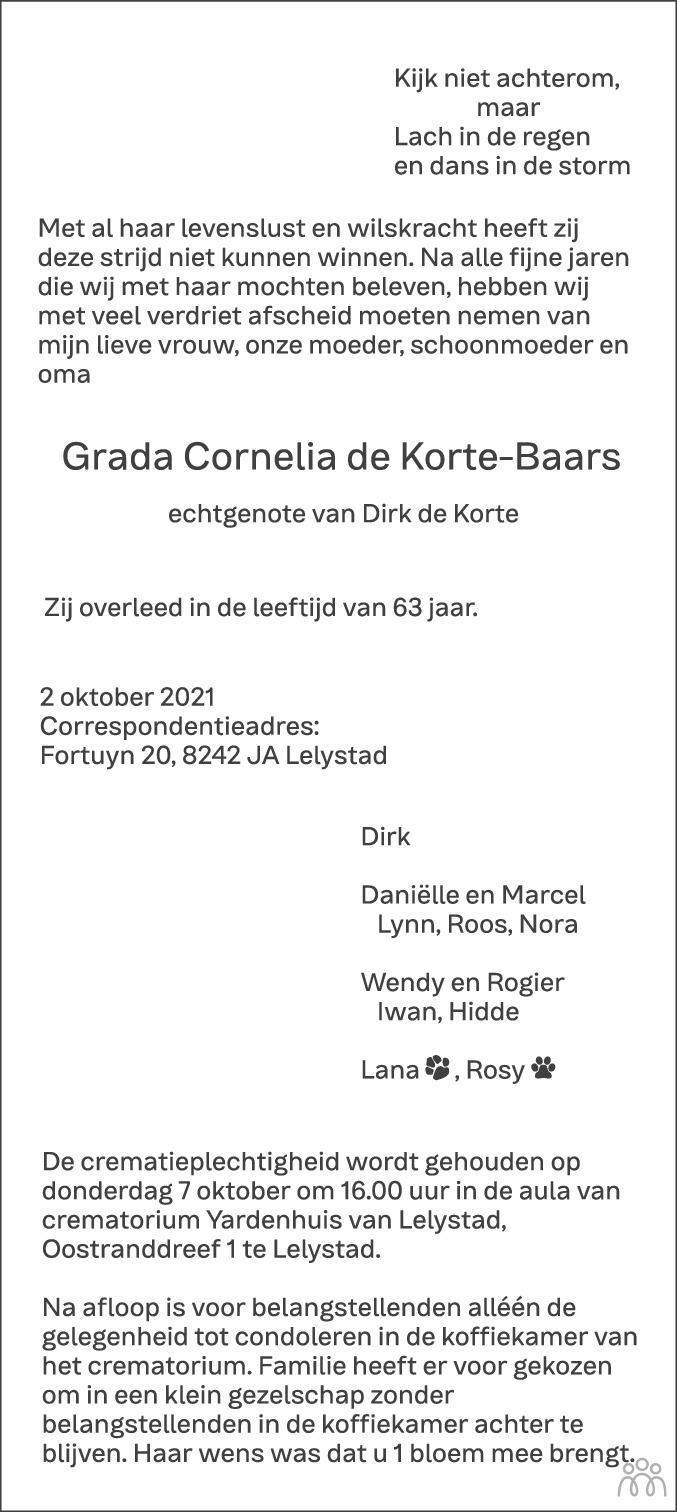 Overlijdensbericht van Grada Cornelia de Korte-Baars in Flevopost Dronten