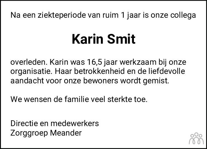 Overlijdensbericht van Karin Smit in Streekblad/Pekelder Streekblad