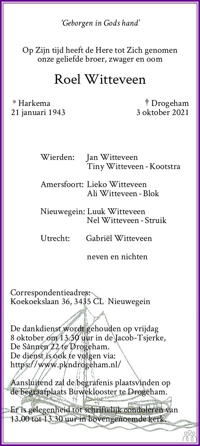Overlijdensbericht van Roel Witteveen in Leeuwarder Courant
