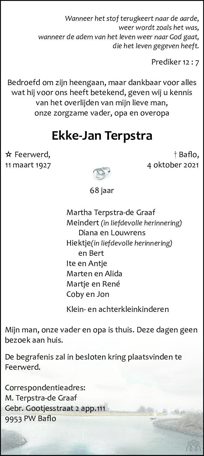 Overlijdensbericht van Ekke-Jan Terpstra in Dagblad van het Noorden