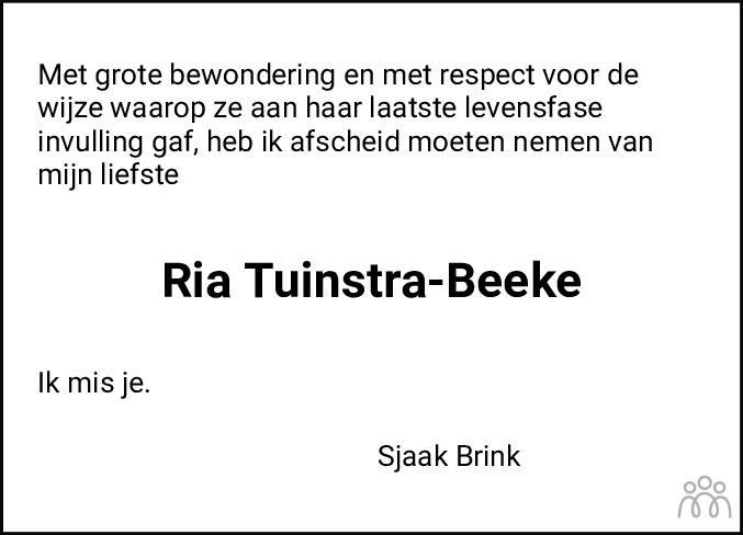 Overlijdensbericht van Ria Tuinstra-Beeke in Leeuwarder Courant
