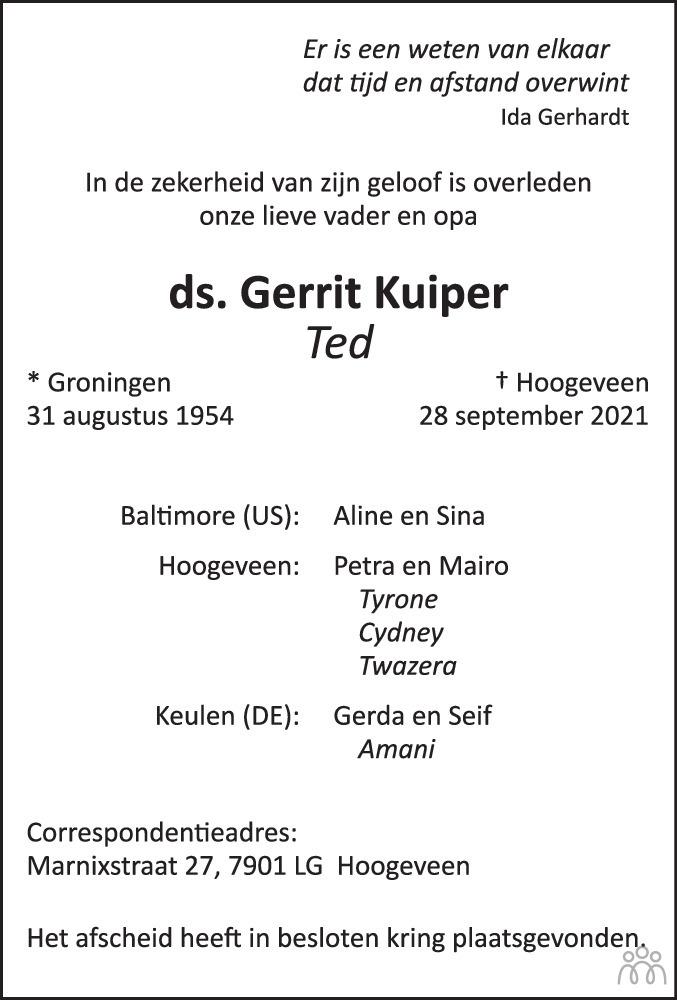 Overlijdensbericht van ds. Gerrit (Ted) Kuiper in Hoogeveensche Courant