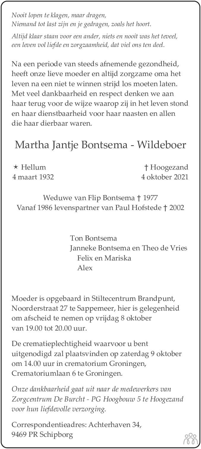 Overlijdensbericht van Martha Jantje Bontsema-Wildeboer in Dagblad van het Noorden