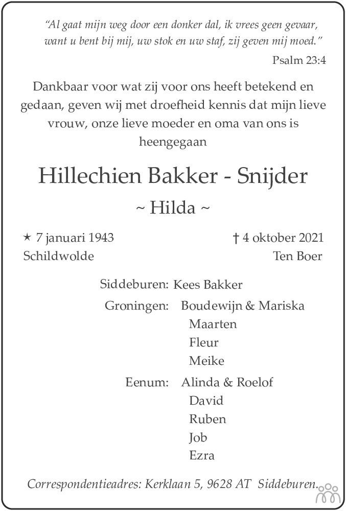 Overlijdensbericht van Hillechien (Hilda) Bakker-Snijder in Dagblad van het Noorden