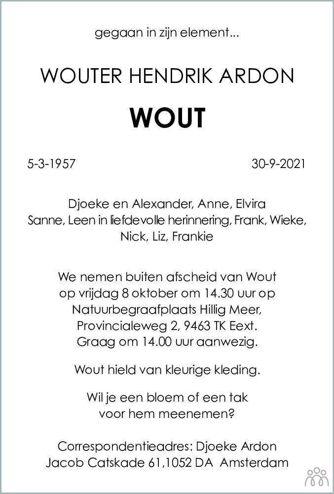 Overlijdensbericht van Wouter Hendrik (Wout) Ardon in Dagblad van het Noorden