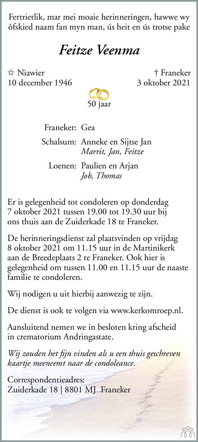 Overlijdensbericht van Feitze Veenma in Leeuwarder Courant