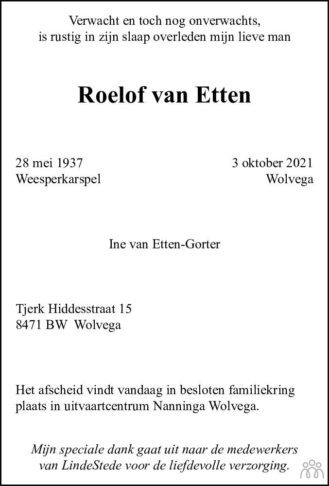 Overlijdensbericht van Roelof van Etten in De Stellingwerf