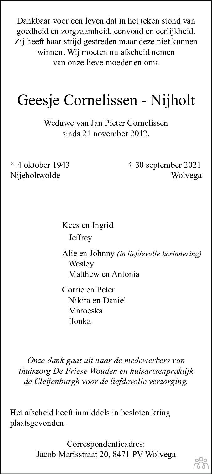 Overlijdensbericht van Geesje Cornelissen-Nijholt in De Stellingwerf