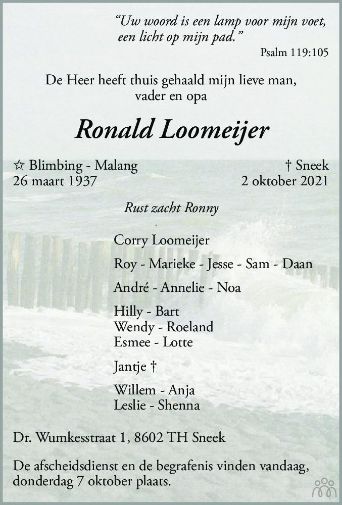 Overlijdensbericht van Ronald Loomeijer in Sneeker Nieuwsblad