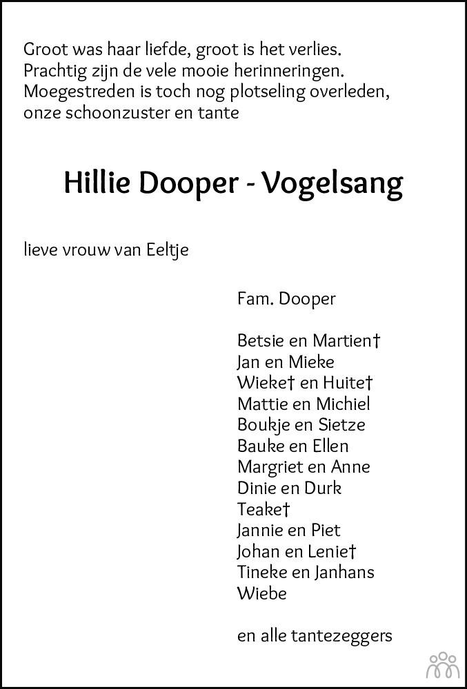 Overlijdensbericht van Hillie (Hillie Geertruida Maria) Dooper-Vogelsang in Leeuwarder Courant