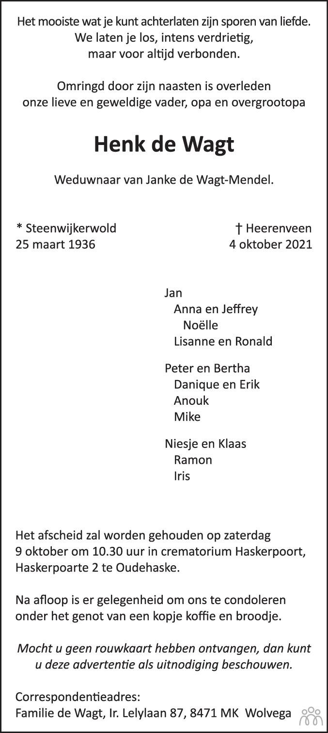 Overlijdensbericht van Henk de Wagt in De Stellingwerf