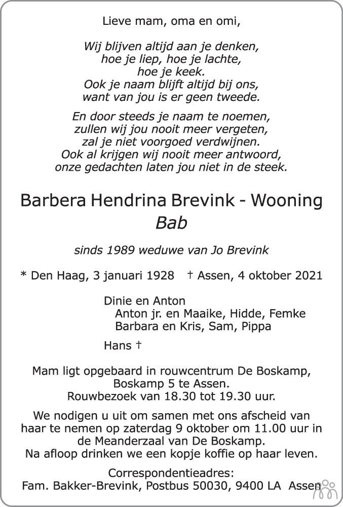 Overlijdensbericht van Barbera Hendrina (Bab) Brevink-Wooning in Dagblad van het Noorden
