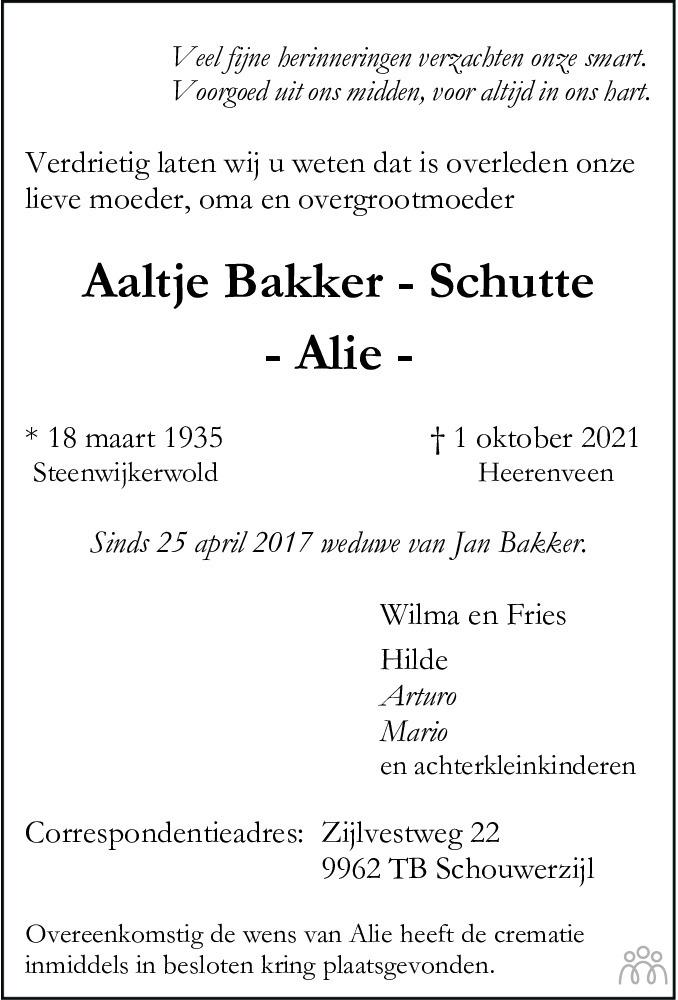 Overlijdensbericht van Aaltje (Alie) Bakker-Schutte in Meppeler Courant