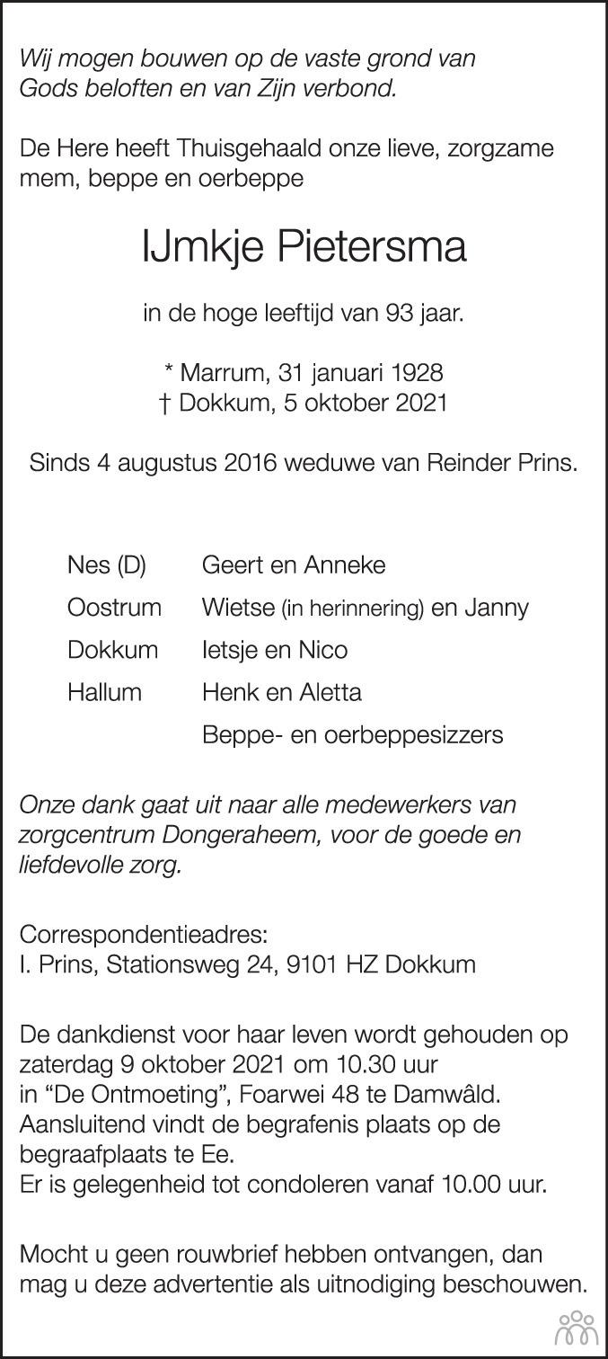 Overlijdensbericht van IJmkje Pietersma in Friesch Dagblad