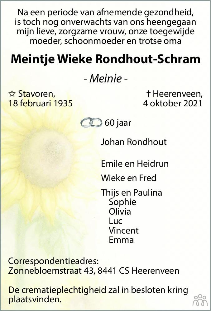 Overlijdensbericht van Meintje Wieke (Meinie) Rondhout-Schram in Leeuwarder Courant