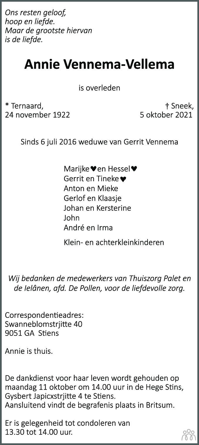 Overlijdensbericht van Annie Vennema-Vellema in Leeuwarder Courant