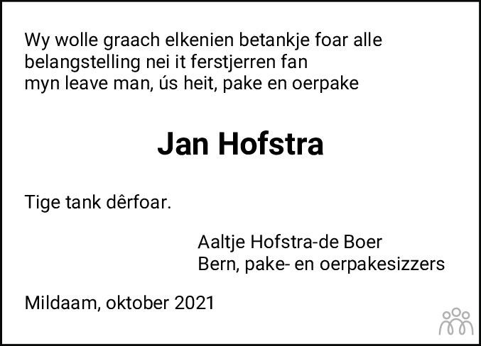 Overlijdensbericht van Jan Hofstra in Leeuwarder Courant