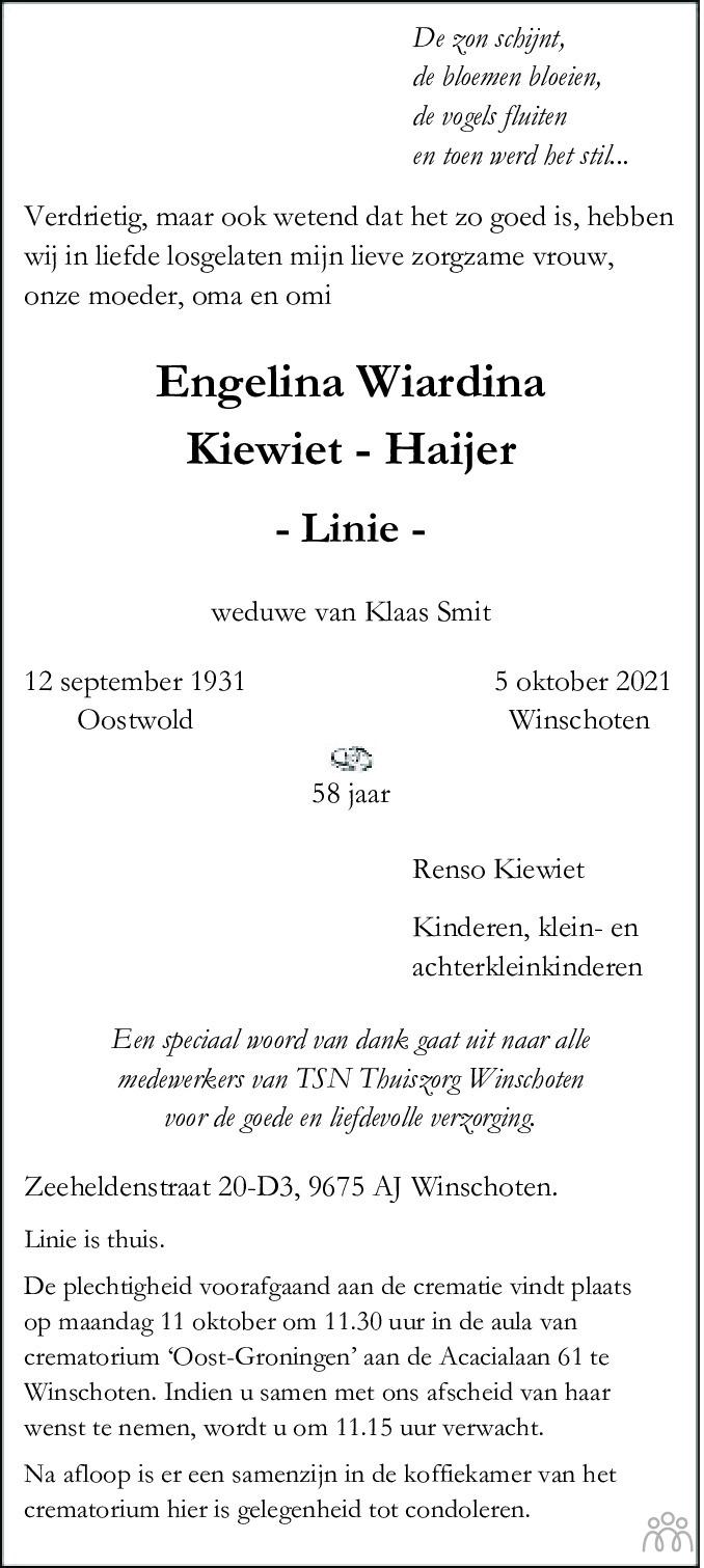 Overlijdensbericht van Engelina Wiardina (Linie) Kiewiet-Haijer in Dagblad van het Noorden