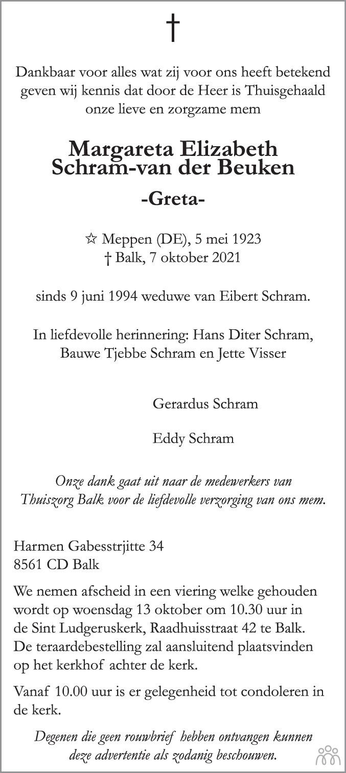 Overlijdensbericht van Margareta Elizabeth (Greta) Schram-van der Beuken in Leeuwarder Courant