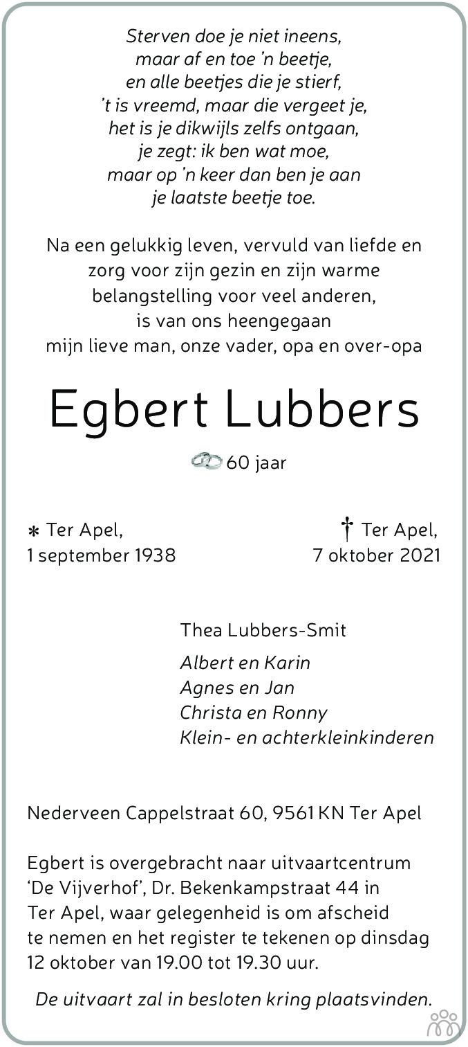 Overlijdensbericht van Egbert Lubbers in Dagblad van het Noorden