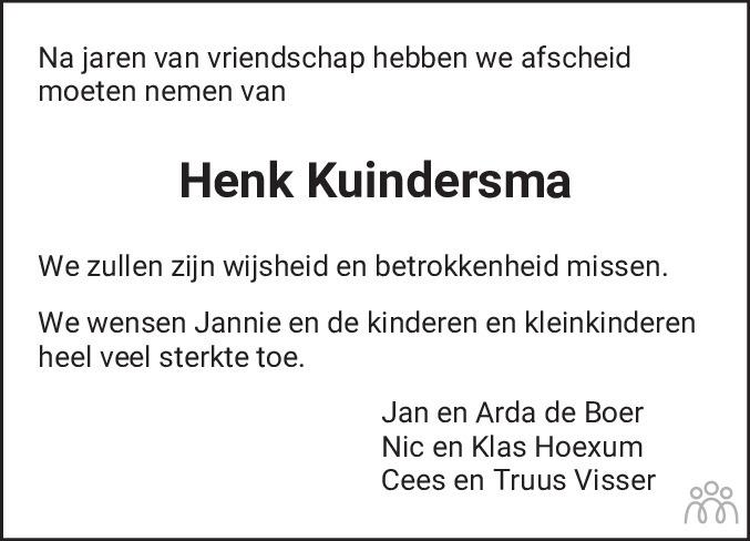 Overlijdensbericht van Henk Kuindersma in Friesch Dagblad