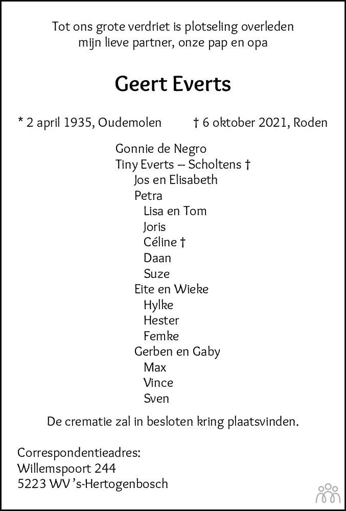 Overlijdensbericht van Geert Everts in Dagblad van het Noorden