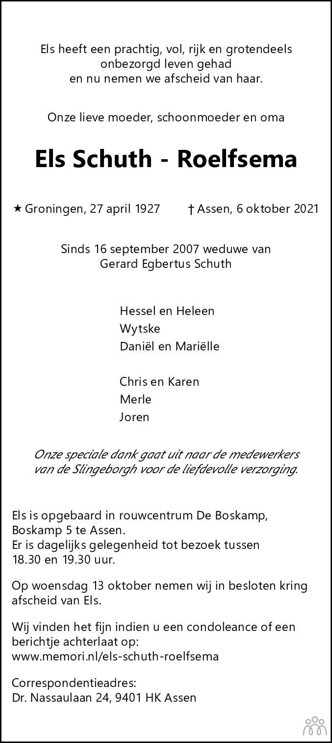 Overlijdensbericht van Els Schuth-Roelfsema in Dagblad van het Noorden