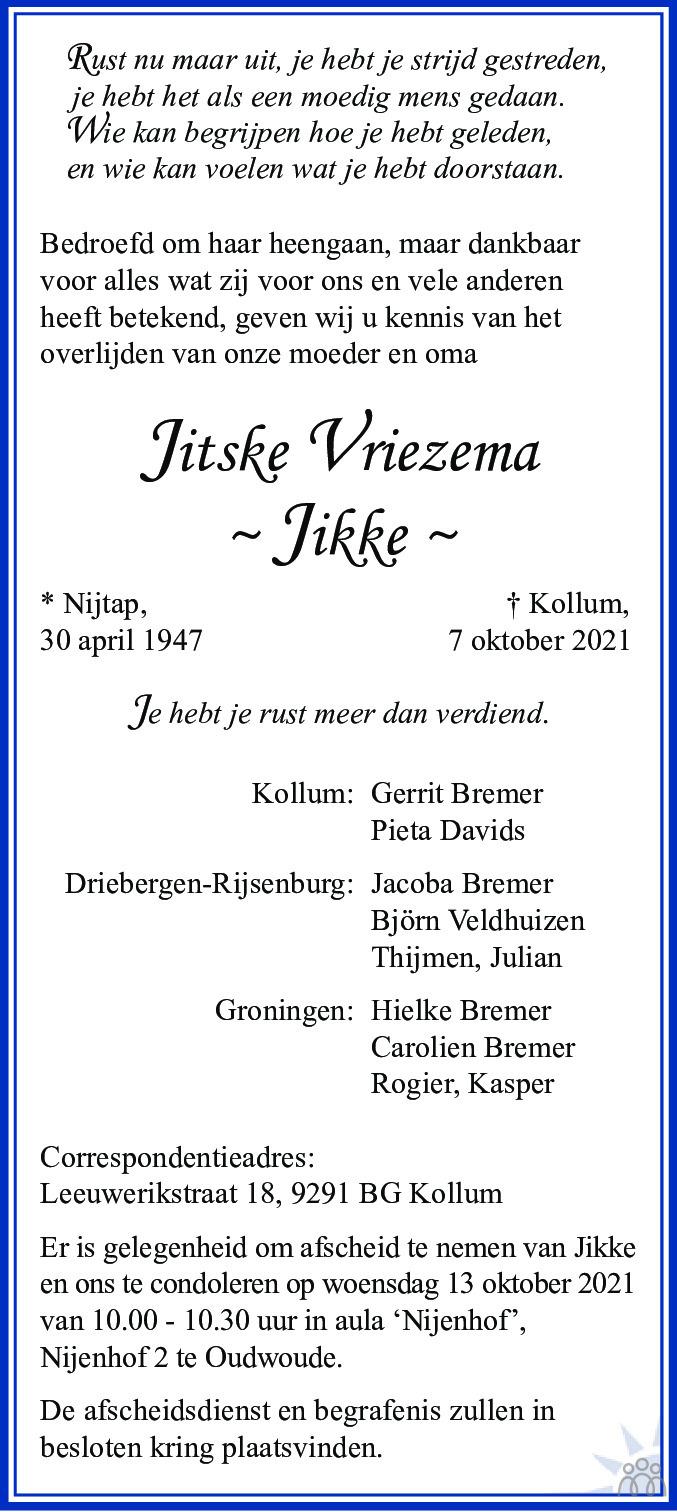 Overlijdensbericht van Jitske (Jikke) Vriezema in Leeuwarder Courant