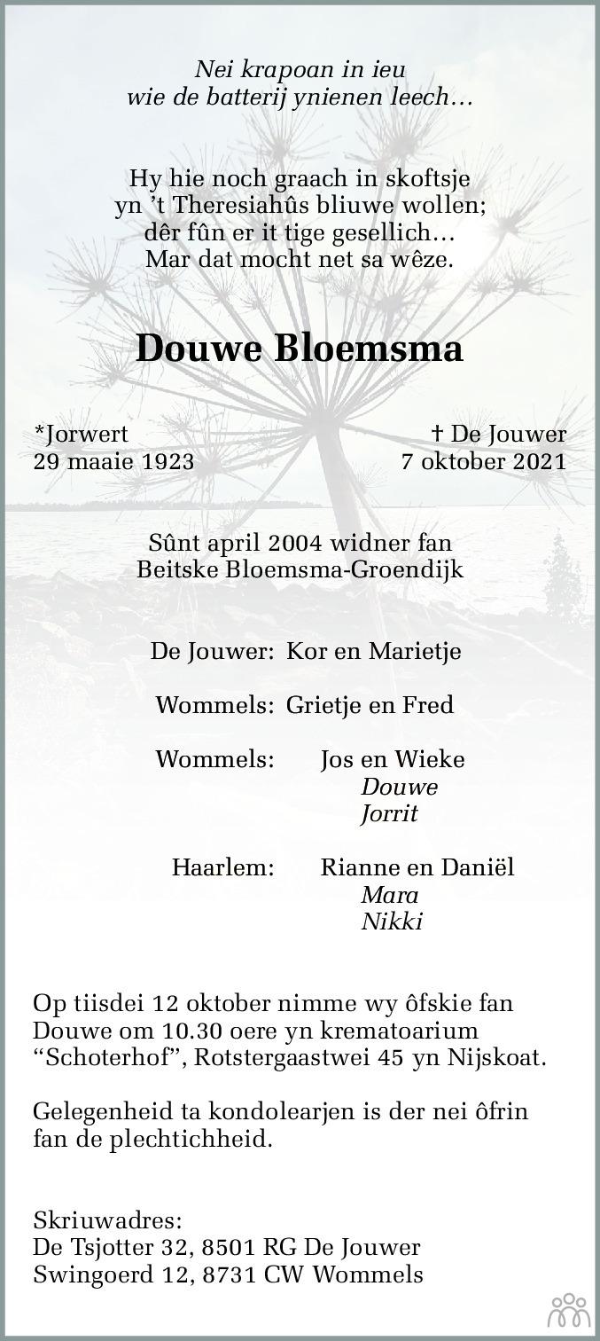 Overlijdensbericht van Douwe Bloemsma in Leeuwarder Courant
