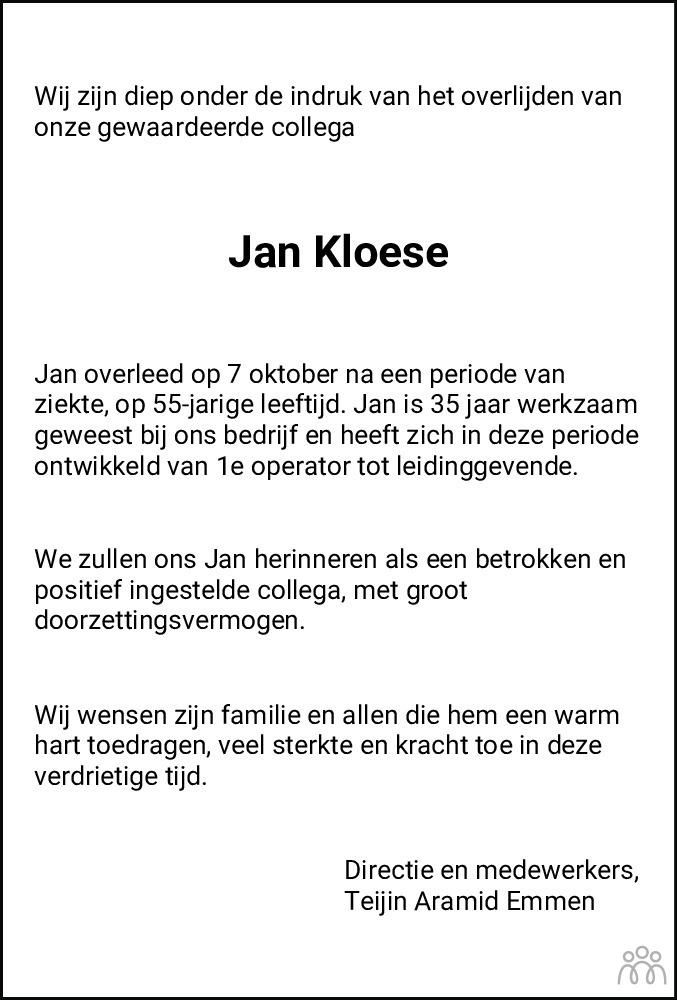 Overlijdensbericht van Jan Kloese in Dagblad van het Noorden