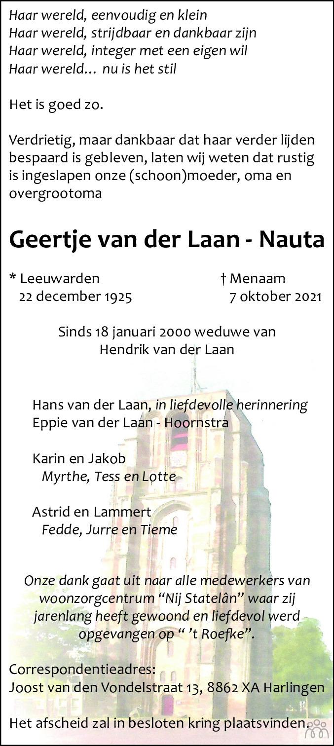 Overlijdensbericht van Geertje van der Laan-Nauta in Leeuwarder Courant
